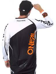 motocross jersey oneal black white orange 2017 mayhem lite blocker mx jersey