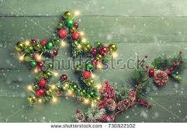 Decorative Trees With Lights Decorative Christmas Star Colored Baubles Christmas Stock Photo