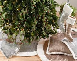 silver tree skirt etsy