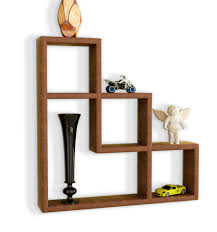 charming u shaped black mango wood wall shelves with shelving