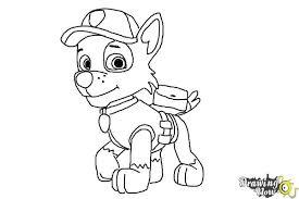 draw rocky paw patrol drawingnow