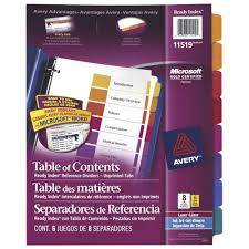 avery ready index table of contents tab dividers ave11519 8