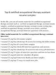sample resume for occupational therapist resume and cover letter