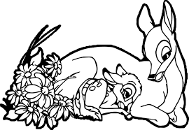 happy bambi mother child coloring page wecoloringpage