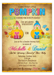 little pumpkin gender reveal party invitation pumpkin on the