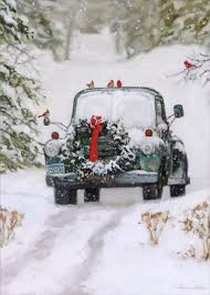 truck with wreath bonnie mohr country card by