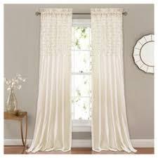 curtain decor rosalie window curtain panel pair ivory 84 x54 lush décor target