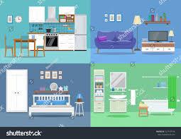 Kitchen Room Interior Design House Interior Kitchen Living Room Bedroom Stock Vector 727419778