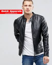 mens leather biker jacket blend faux leather biker zip thru in black men
