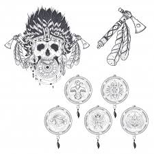set of vector templates for a tattoo with a human skull in an