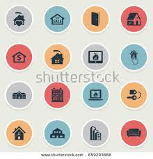Comfortability Synonyms City Hotel Icons Signs Vector Illustrations Stock Vector 77241013