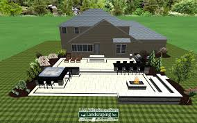 2 tiered paver patio design with outdoor kitchen tub with
