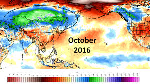 World Temperature Map October by March 2017 Roy Spencer Phd