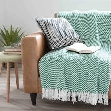 plaid turquoise pour canapé jeté en coton vert 160 x 210 cm ubud pour recouvrir le canapé