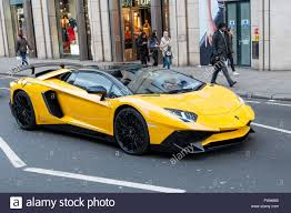 yellow lamborghini london uk 5 april 2016 a bright yellow lamborghini aventador sv