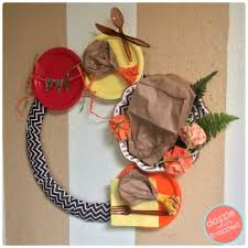 diy thanksgiving paper bag turkey door wreath