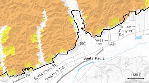 Camarillo Ca Map Maps Show The Mudslide And Debris Flow Threat From The Thomas Fire