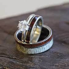 antler wedding ring unique deer antler wedding ring set s and