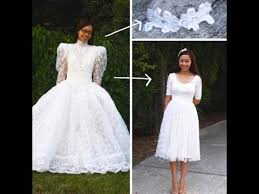 poofy wedding dresses buys poofy wedding gown at thrift store then transforms it
