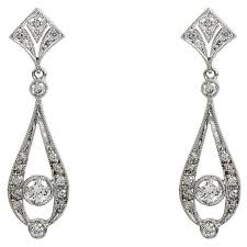 white gold drop earrings deco inspired 18ct white gold diamond drop earrings by owen