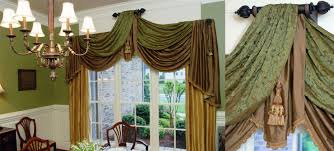 british inspired dining room custom damask swags drapery panels