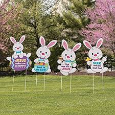 easter rabbits decorations set of 4 religious easter bunny rabbits whimsical