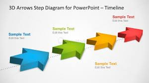4 milestones timeline template with 3d arrows in powerpoint