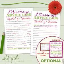 Marriage Advice Cards For Wedding Wedding Mad Lib Words Of Wisdom Personalized U2013 Wild Truth