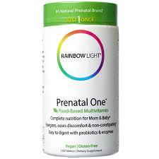 rainbow light prenatal one vitamins rainbow light prenatal one multivitamin 150 count folic acid