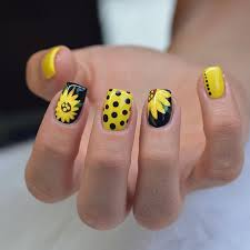 yellow and black sunflower nail art all yellow yellow nails