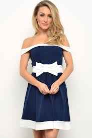 evita hayden bow contrast skater dress in navy and white iclothing