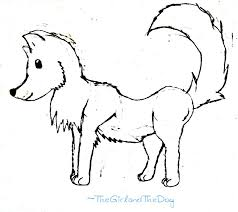 cartoon wolf sketch by thegirlandthedog on clipart library clip