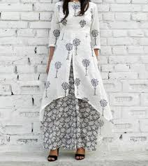 cape designs grey u0026 white cotton printed high low cape and palazzo set