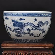 painted blue and white porcelain aquarium jingdezhen