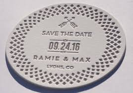 save the date coasters save the date letterpress die cut coasters dogs