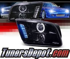 mustang projector headlights spec d halo led projector headlights glossy black 05 09 ford
