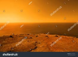 beautiful deserted planet vast ocean orange stock photo 274553024