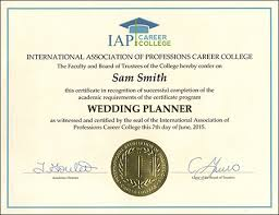 wedding planner certification wedding planner certificate course online