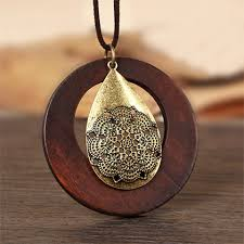 wood pendant necklace images Boho rope necklace with wood and metal pendant jewelry we luv jpg