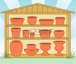 Clay Pot Garden Art - set of decorative flower pots royalty free cliparts vectors and