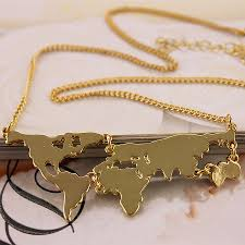 Personalized World Map by Free Shipping Exaggerated Fashion Jewelry Short Paragraph