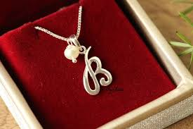 pearl charm necklace images B intial sterling silver pearl charm alphabet pendant designer jpg