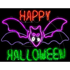 gemmy 1 5 ft h x 2 ft l light glo flashing flying bat w happy