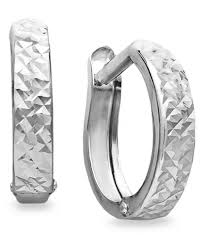 white gold earrings 10k white gold earrings diamond cut hinged hoop earrings