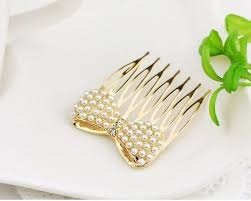 gold hair accessories simulation pearl bow insert comb gold hair pin hair