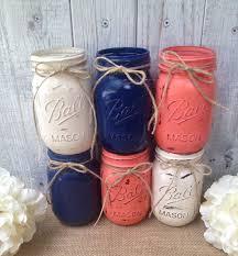 pint mason jars navy blue coral cream painted mason jars rustic pint mason jars navy blue coral cream painted mason jars rustic