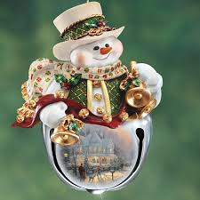 amazon com thomas kinkade snow bell holidays snowman ornaments