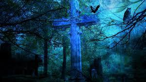 halloween gothic cross forest dark crow raven wallpaper