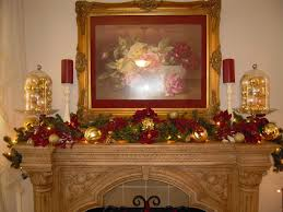 antique christmas decorations framed picture fireplace mantel