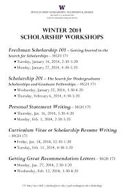 Undergraduate Personal Statement Essay Examples Winter Scholarship Workshops From Omsfa Undergraduate Research